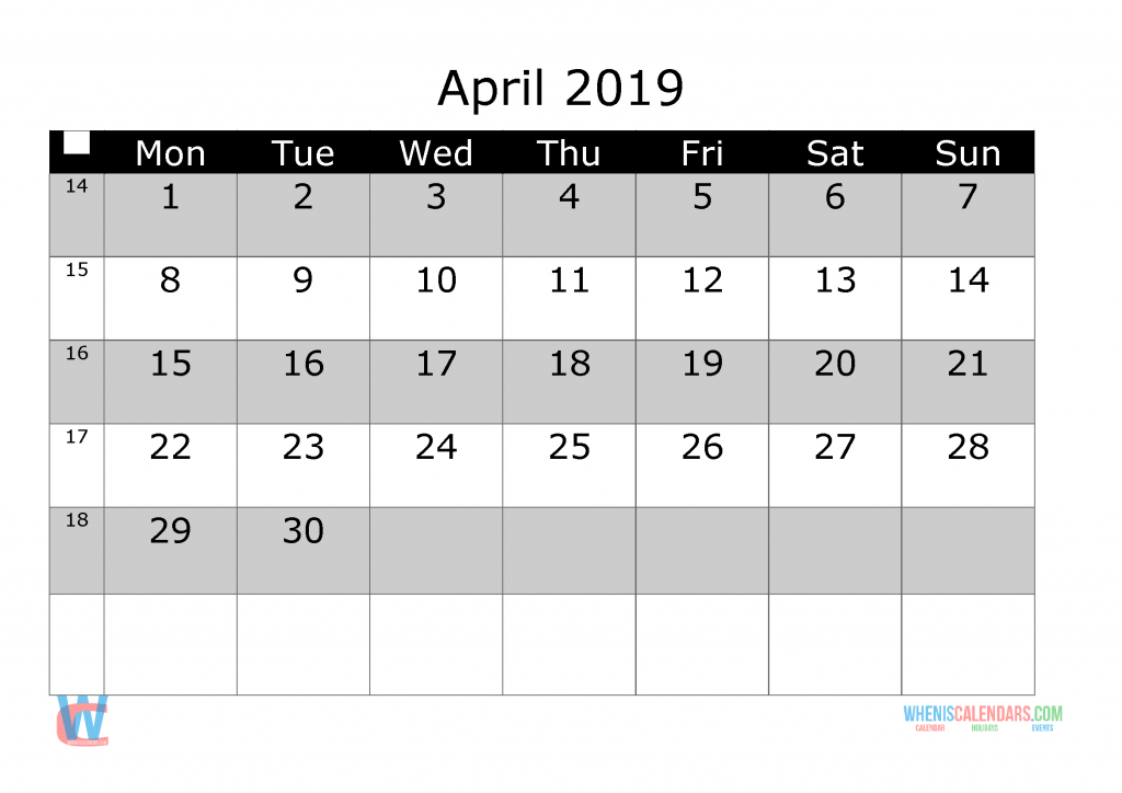 April 2019 Printable Monthly Calendar with Week Numbers, week day start by Monday.