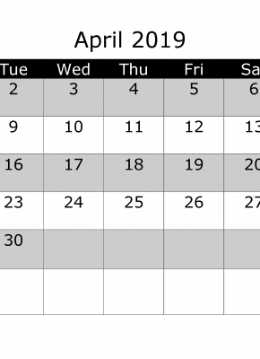 April 2019 Printable Monthly Calendar with Week Numbers Week Day Start by Monday