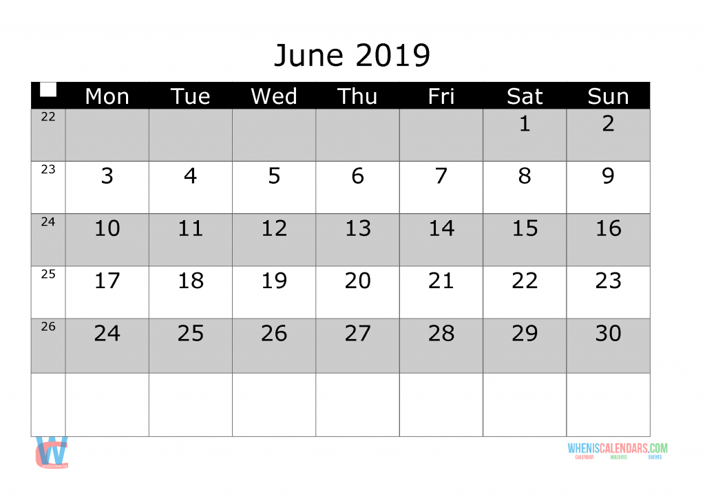 June 2019 Printable Monthly Calendar with Week Numbers, week day start by Monday.