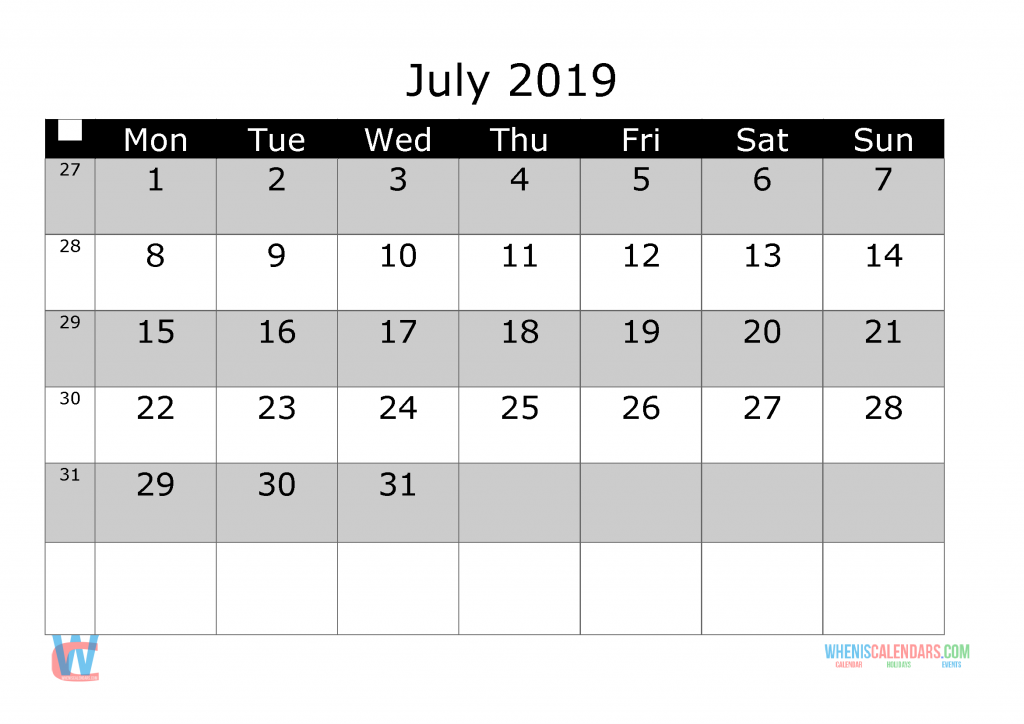 July 2019 Printable Monthly Calendar with Week Numbers, week day start by Monday.