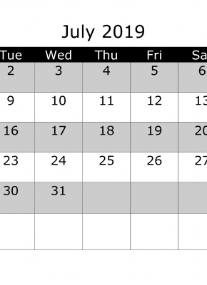July 2019 Printable Monthly Calendar with Week Numbers Week Day Start by Monday