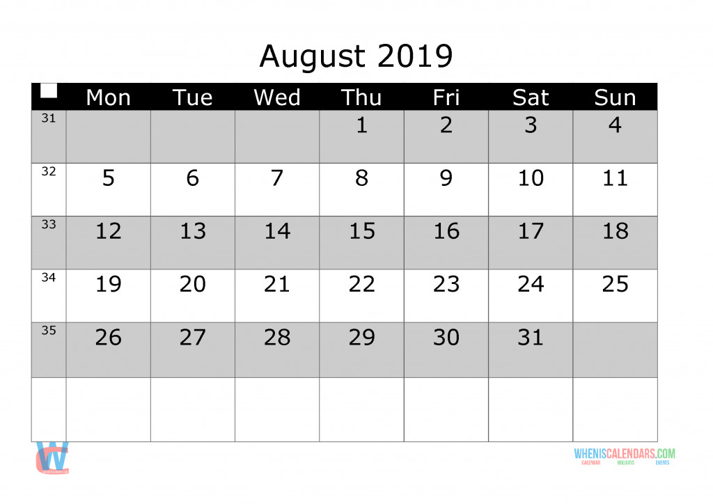 August 2019 Printable Monthly Calendar with Week Numbers, week day start by Monday.