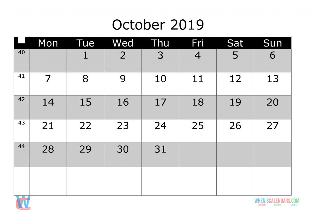 October 2019 Printable Monthly Calendar with Week Numbers, week day start by Monday.