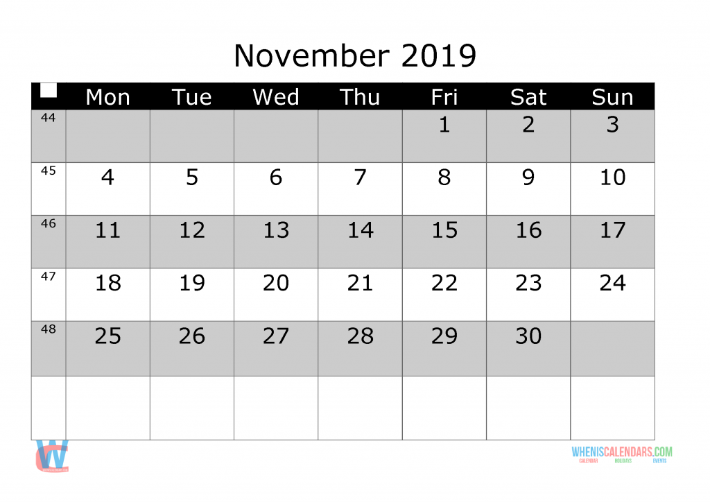 November 2019 Printable Monthly Calendar with Week Numbers, week day start by Monday.