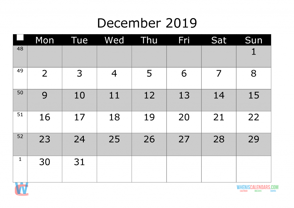 picture about Printable Monthly Calendar December called December 2019 Printable Month to month Calendar with 7 days Quantities