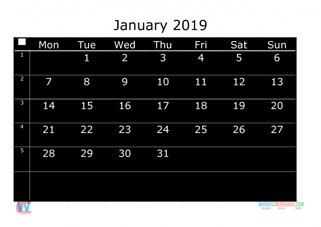 Printable Monthly Calendar 2019 January, the first day of the week is Monday