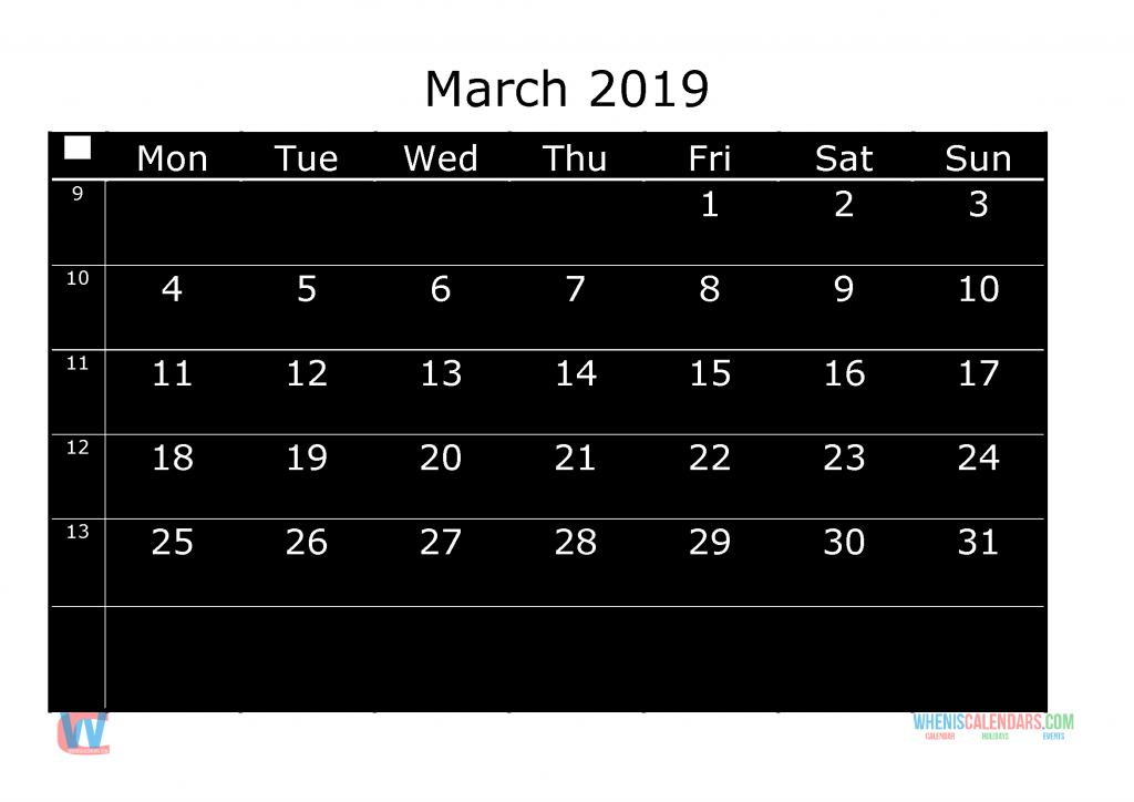 Printable Monthly Calendar 2019 March, the first day of the week is Monday
