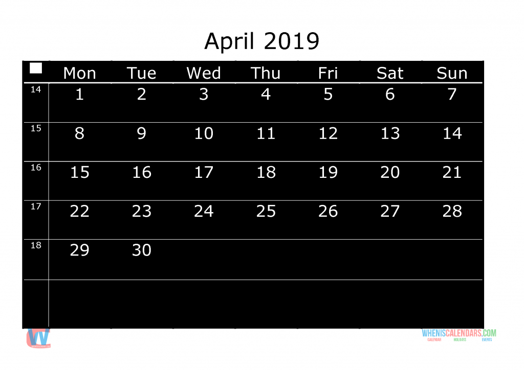 Printable Monthly Calendar 2019 April, the first day of the week is Monday