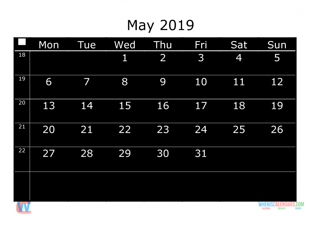 Printable Monthly Calendar 2019 May, the first day of the week is Monday