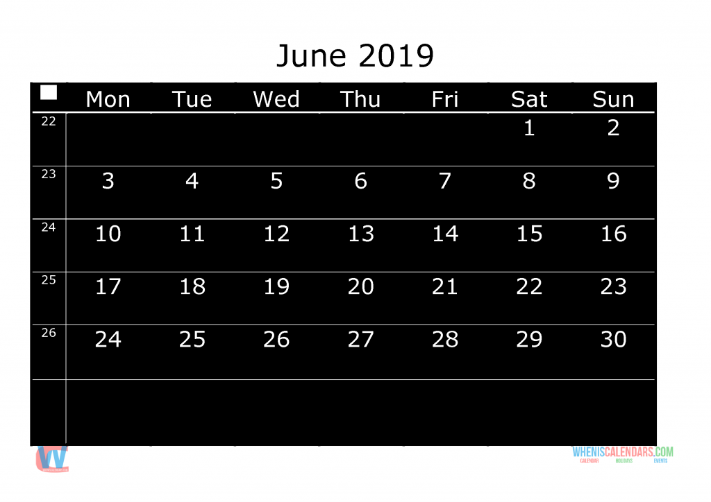 Printable Monthly Calendar 2019 June, the first day of the week is Monday