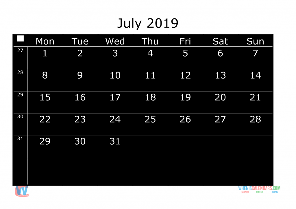 Printable Monthly Calendar 2019 July, the first day of the week is Monday