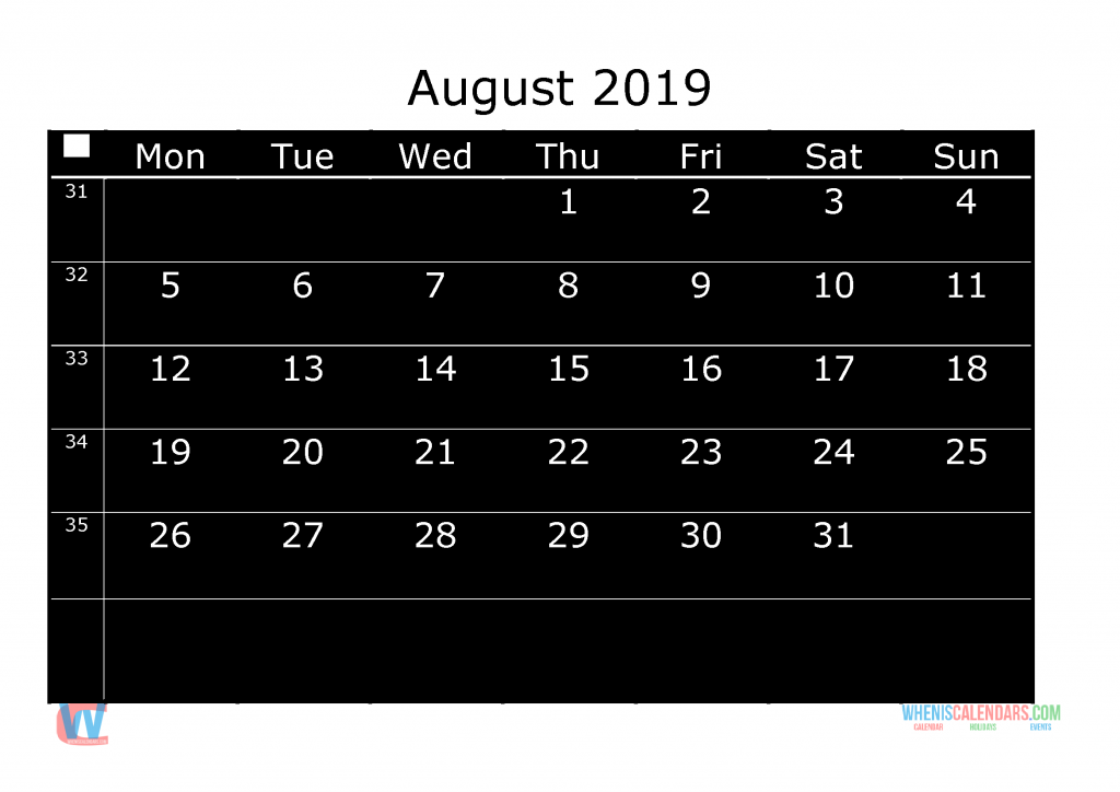 Printable Monthly Calendar 2019 August, the first day of the week is Monday