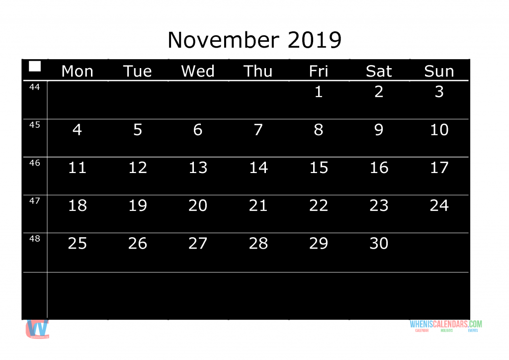 Printable Monthly Calendar 2019 November, the first day of the week is Monday