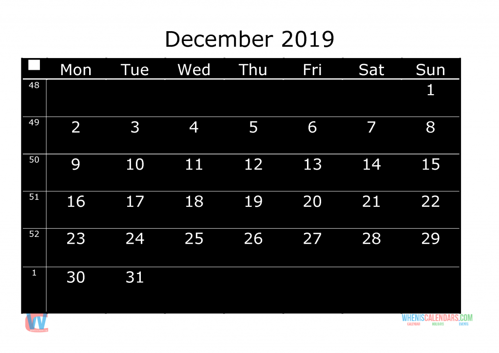 Printable Monthly Calendar 2019 December, the first day of the week is Monday