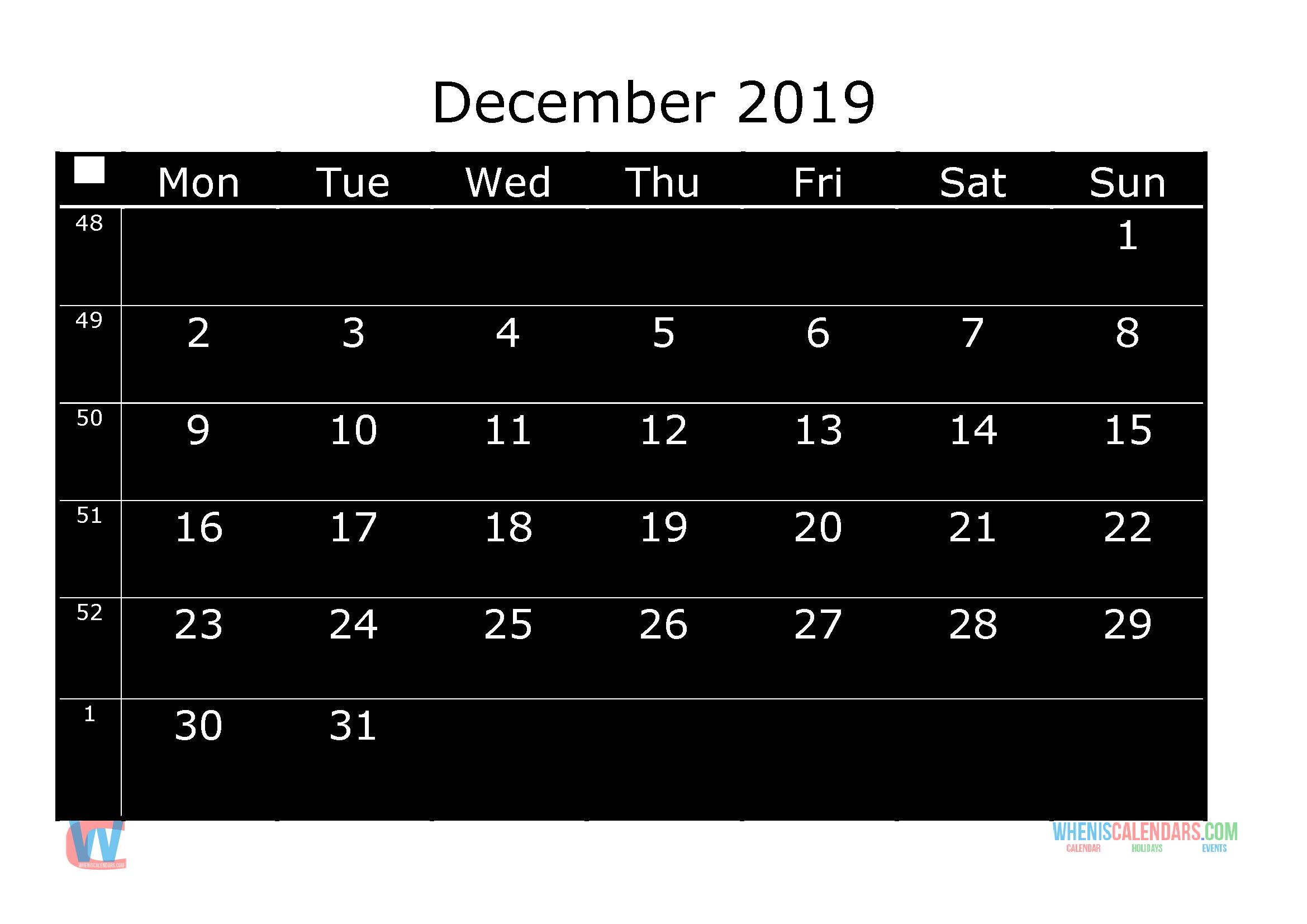 printable monthly calendar 2019 december week day starts