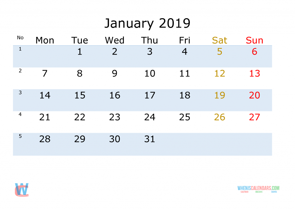 January 2019 Printable Monthly Calendar with Week Numbers, the first day of the week is Monday