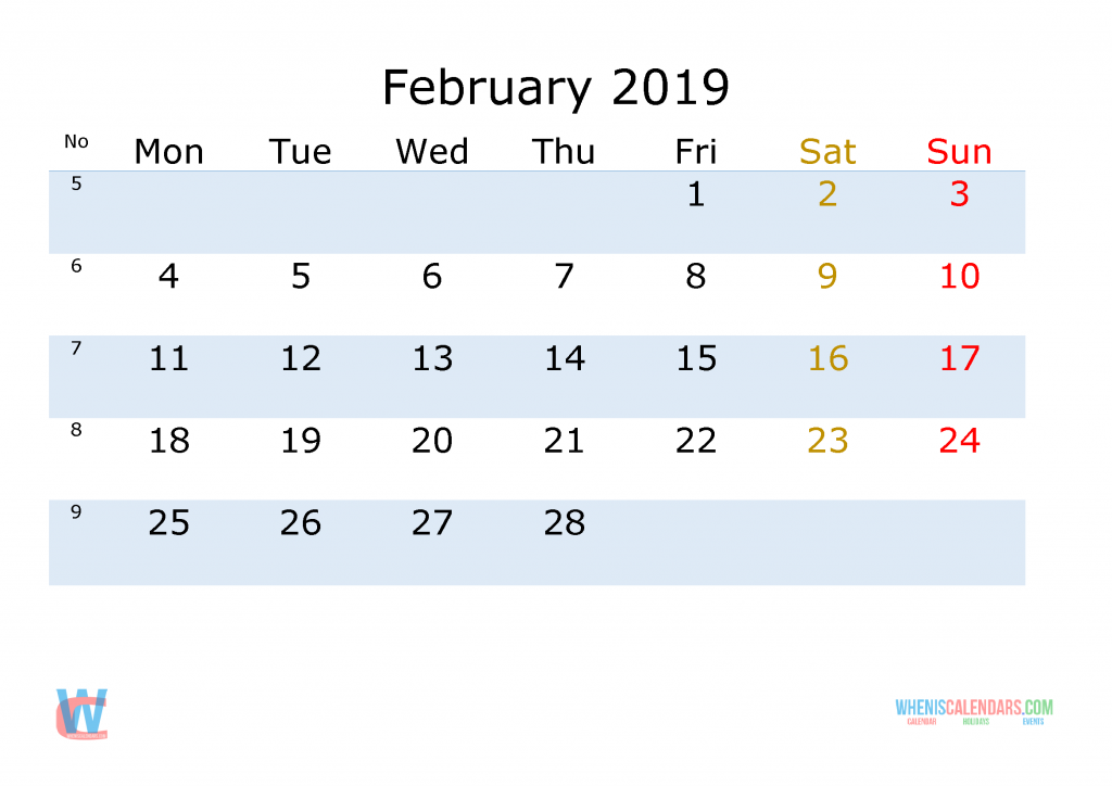 February 2019 Printable Monthly Calendar With Week Numbers Monday