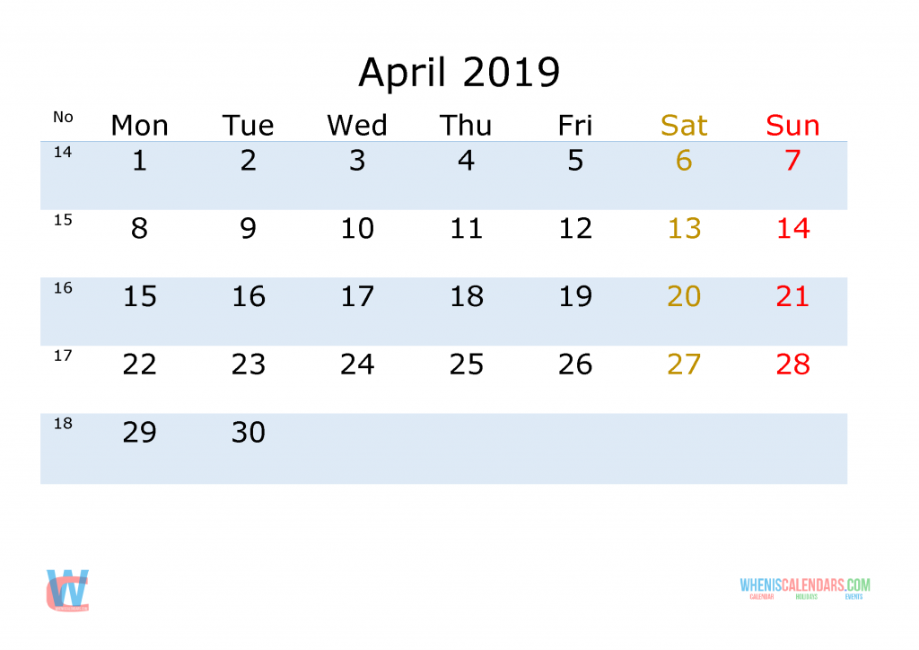 April 2019 Printable Monthly Calendar with Week Numbers , the first day of the week is Monday