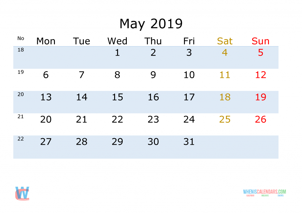 May 2019 Printable Monthly Calendar with Week Numbers , the first day of the week is Monday
