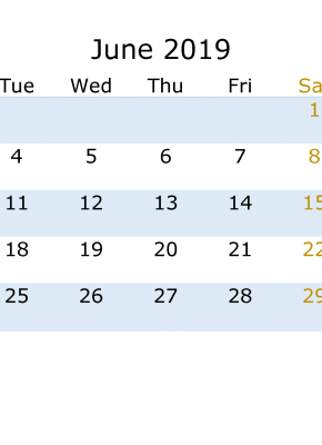 June 2019 Calendar with week numbers printable, week day start with Monday