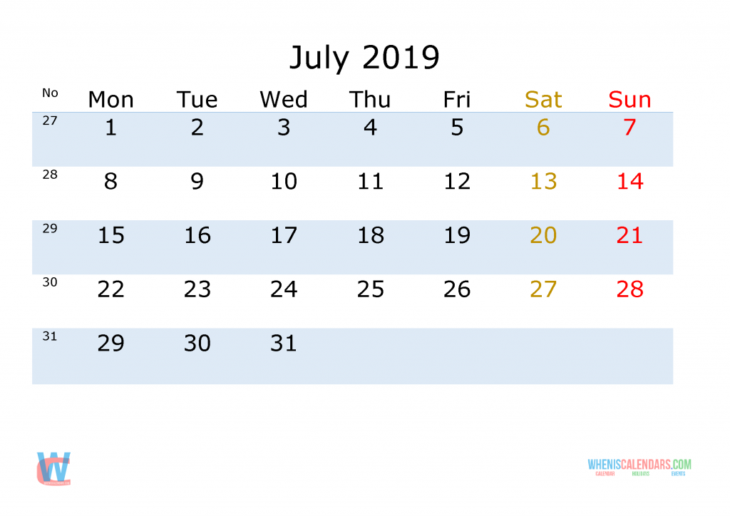 July 2019 Printable Monthly Calendar with Week Numbers , the first day of the week is Monday