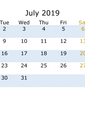 July 2019 Calendar with week numbers printable, week day start with Monday