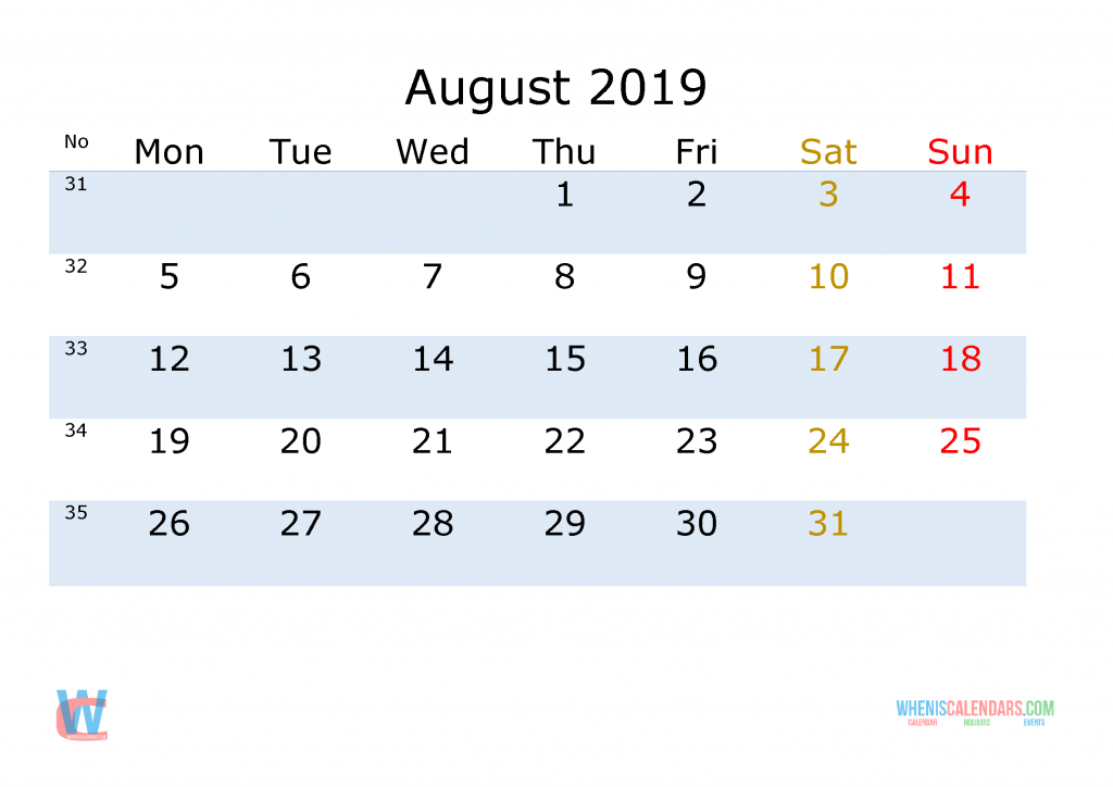 August 2019 Printable Monthly Calendar with Week Numbers , the first day of the week is Monday