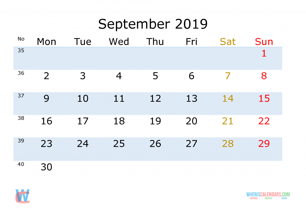 September 2019 Printable Monthly Calendar with Week Numbers , the first day of the week is Monday