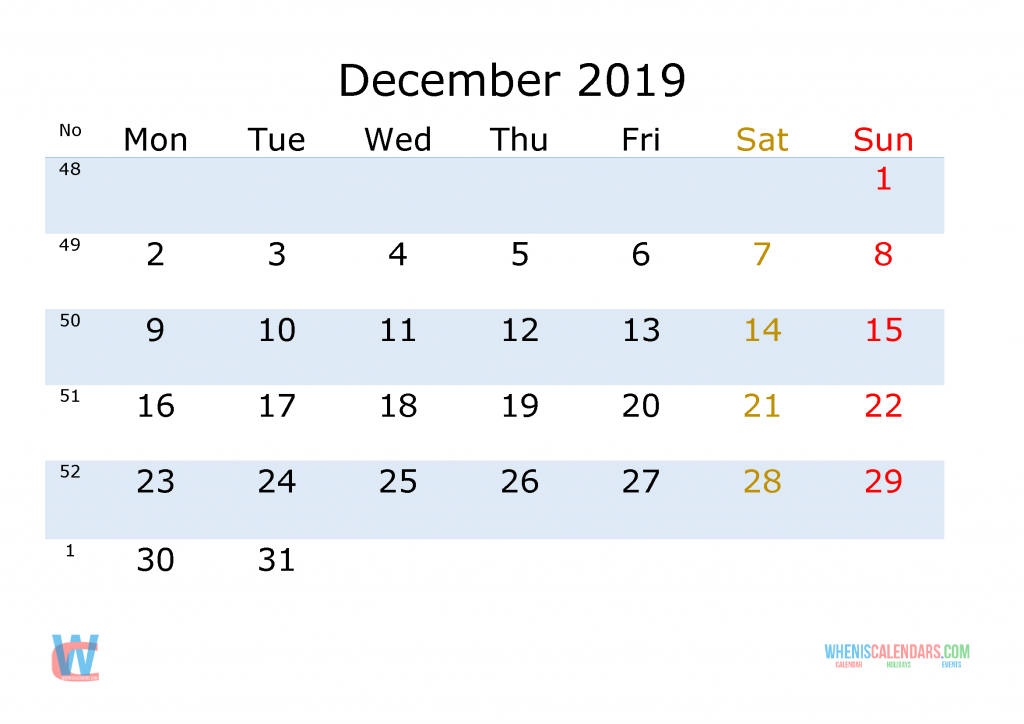 December 2019 Printable Monthly Calendar with Week Numbers , the first day of the week is Monday