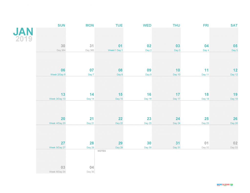 January 2019 Printable Monthly Calendar Template - Printable Calendar 2019 with Holidays