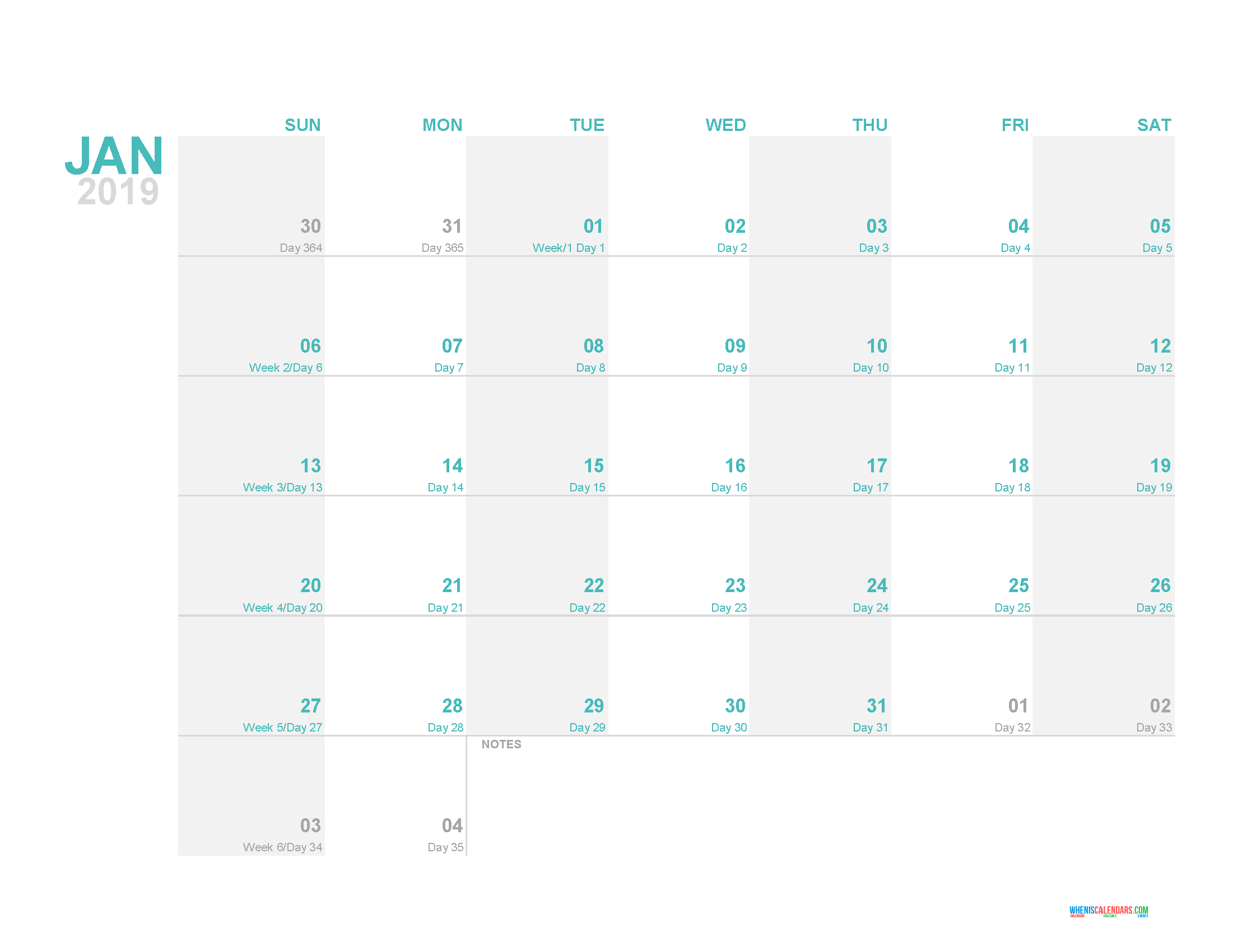 Calendar Day Counter 2019 January 2019 Printable Monthly Calendar Template with Day Count