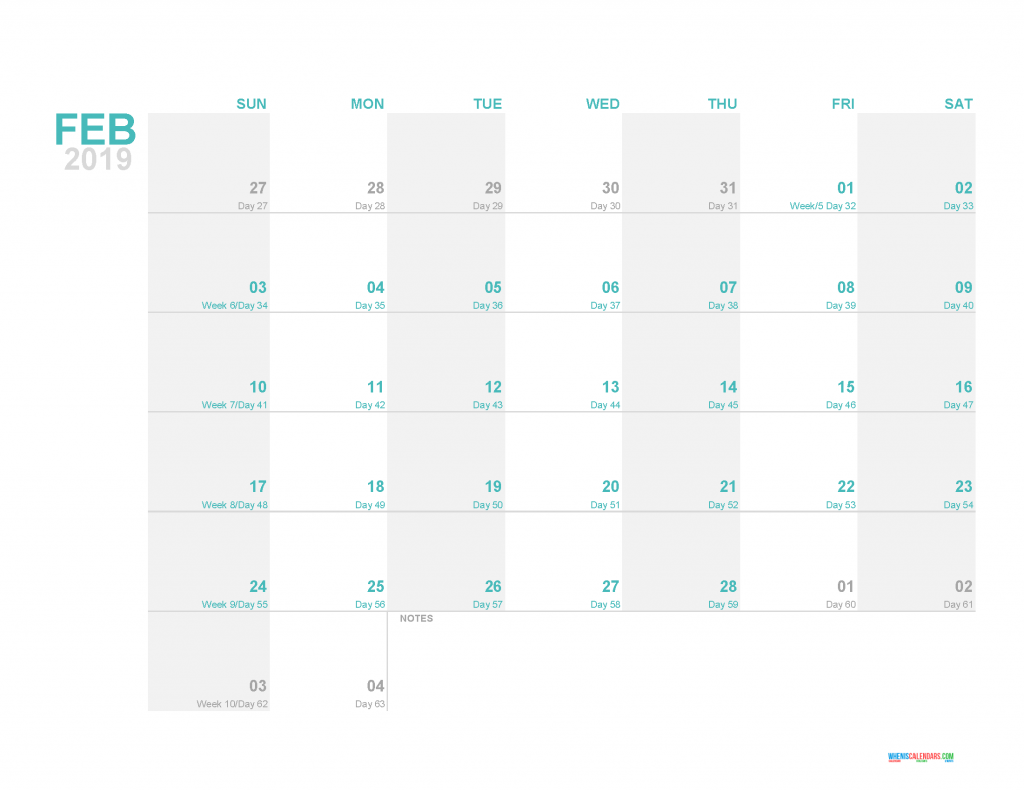 February 2019 Printable Monthly Calendar Template - Printable Calendar 2019 with Holidays