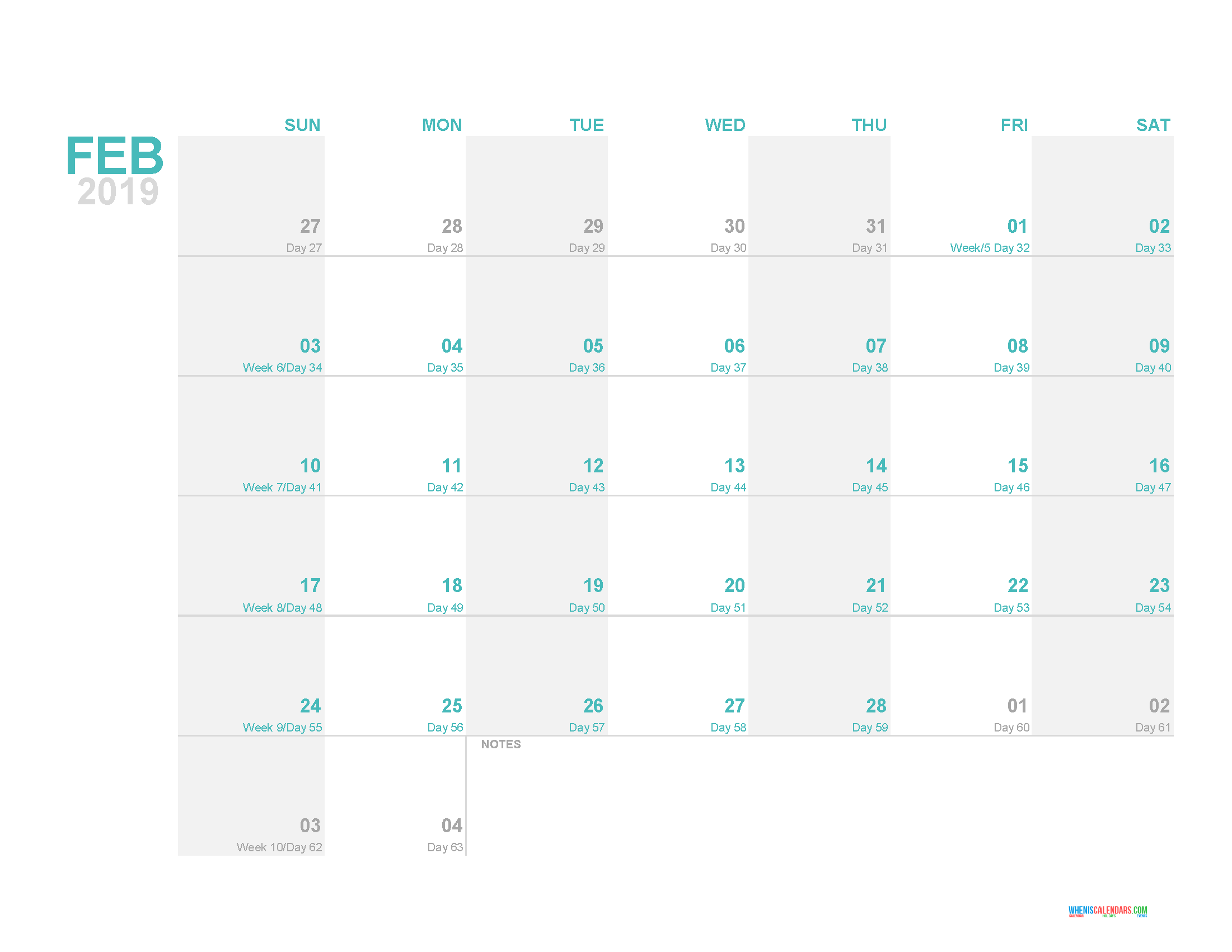 Day Count Calendar 2019 February 2019 Printable Monthly Calendar Template with Day Count