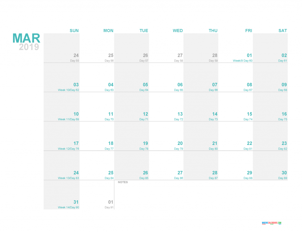 March 2019 Printable Monthly Calendar Template - Printable Calendar 2019 with Holidays
