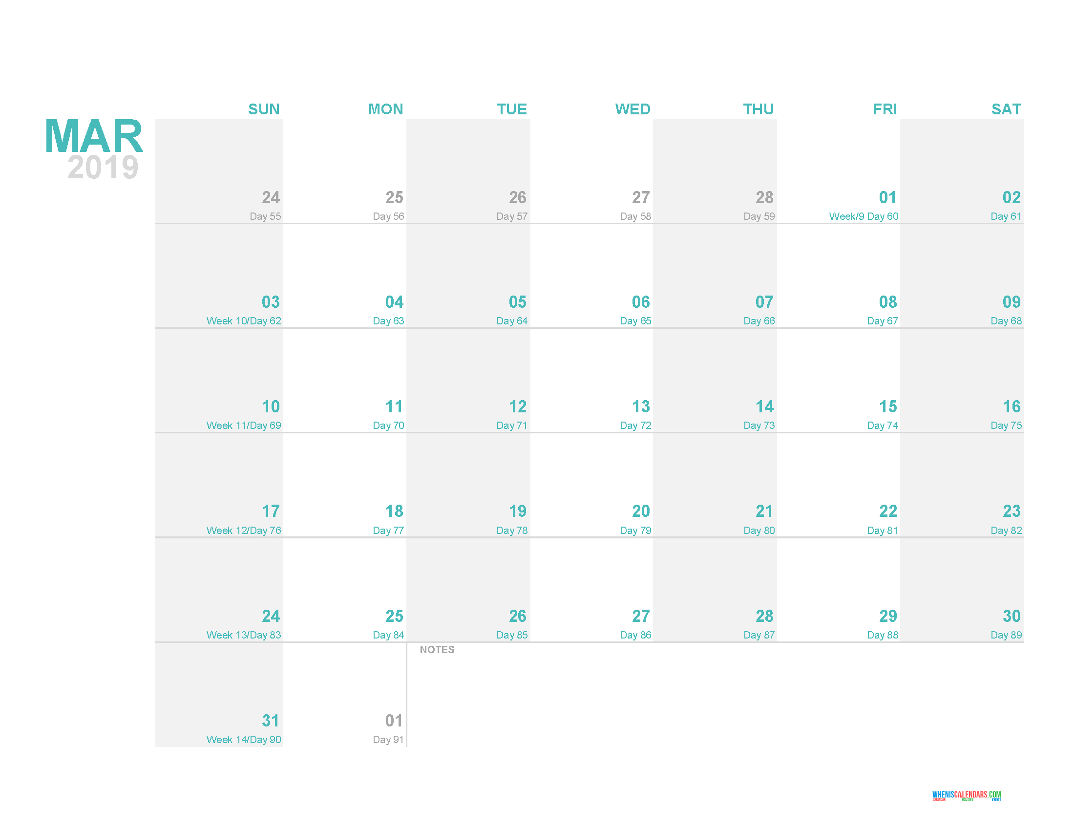 March 2019 Printable Monthly Calendar Template With Day Count 2018
