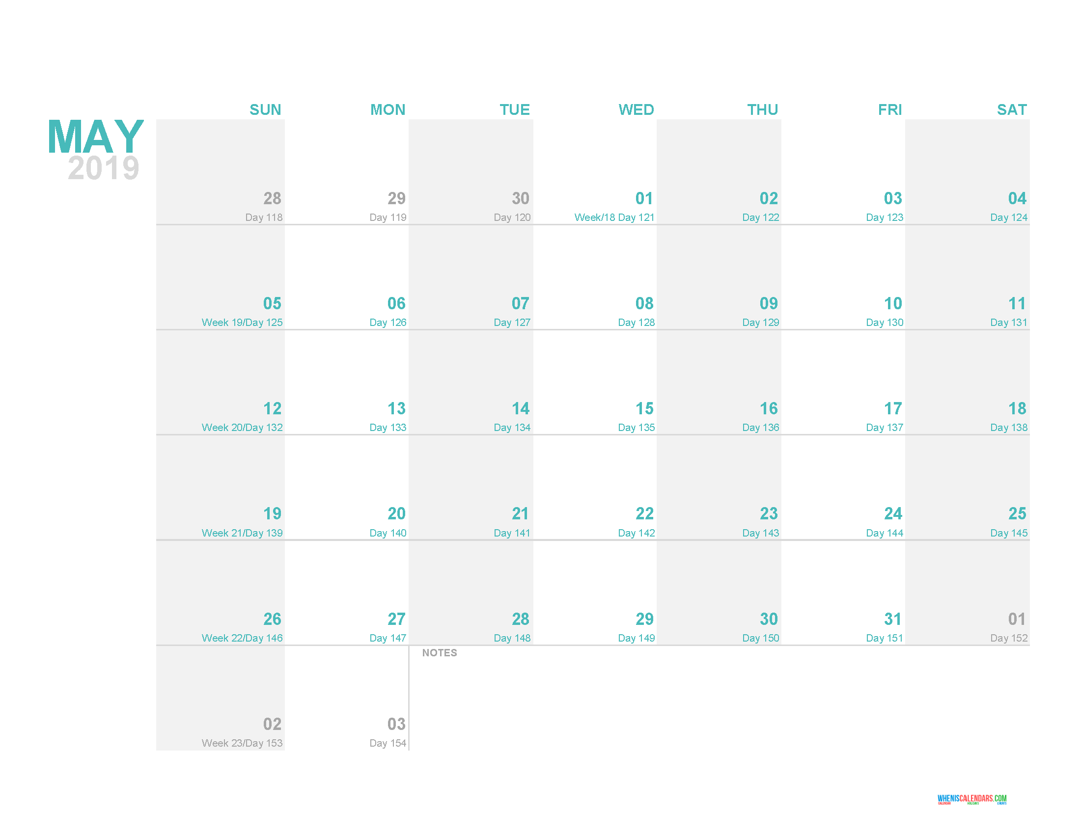 Calendar Day Counter 2019 May 2019 Printable Monthly Calendar Template with Day Count   Free