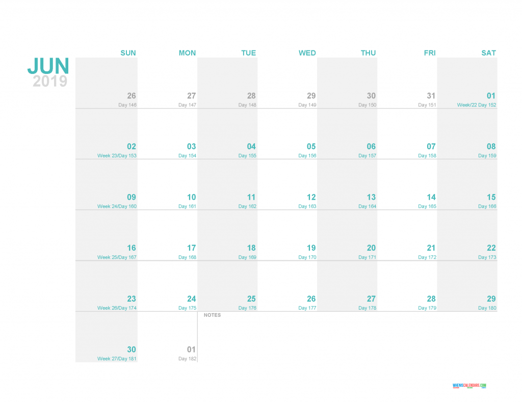 June 2019 Printable Monthly Calendar Template - Printable Calendar 2019 with Holidays