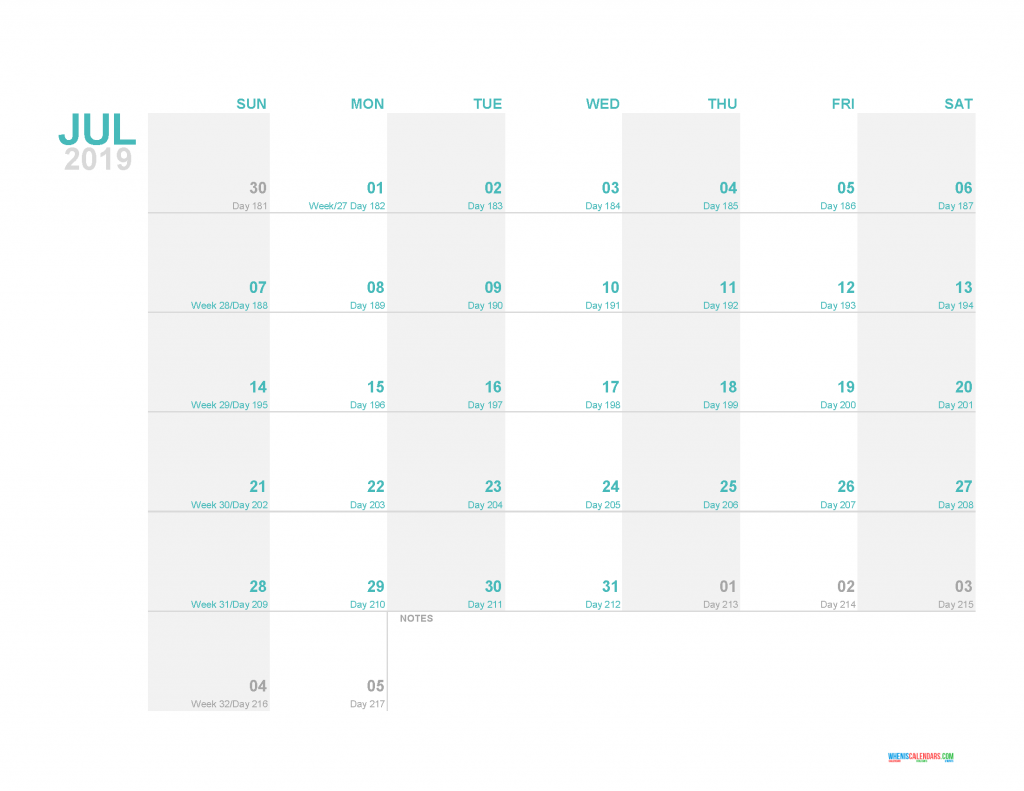 July 2019 Printable Monthly Calendar Template - Printable Calendar 2019 with Holidays