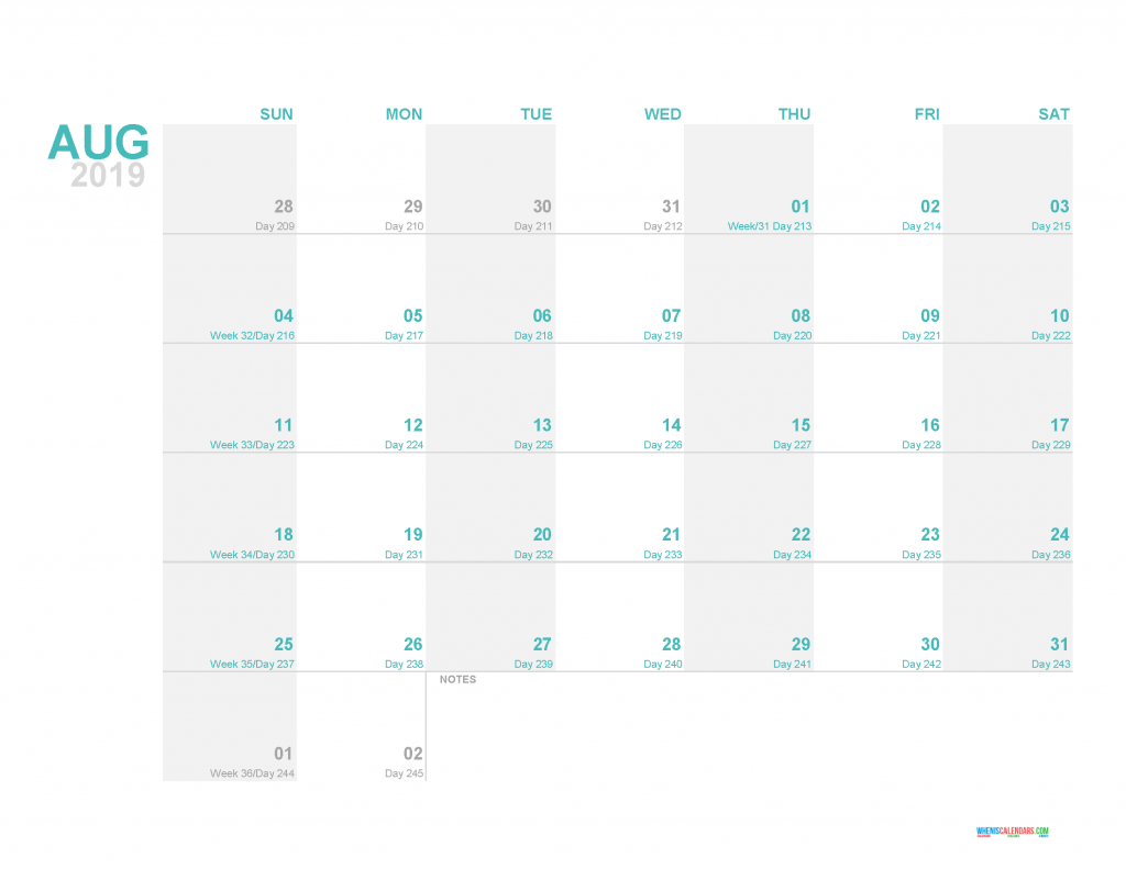 August 2019 Printable Monthly Calendar Template - Printable Calendar 2019 with Holidays