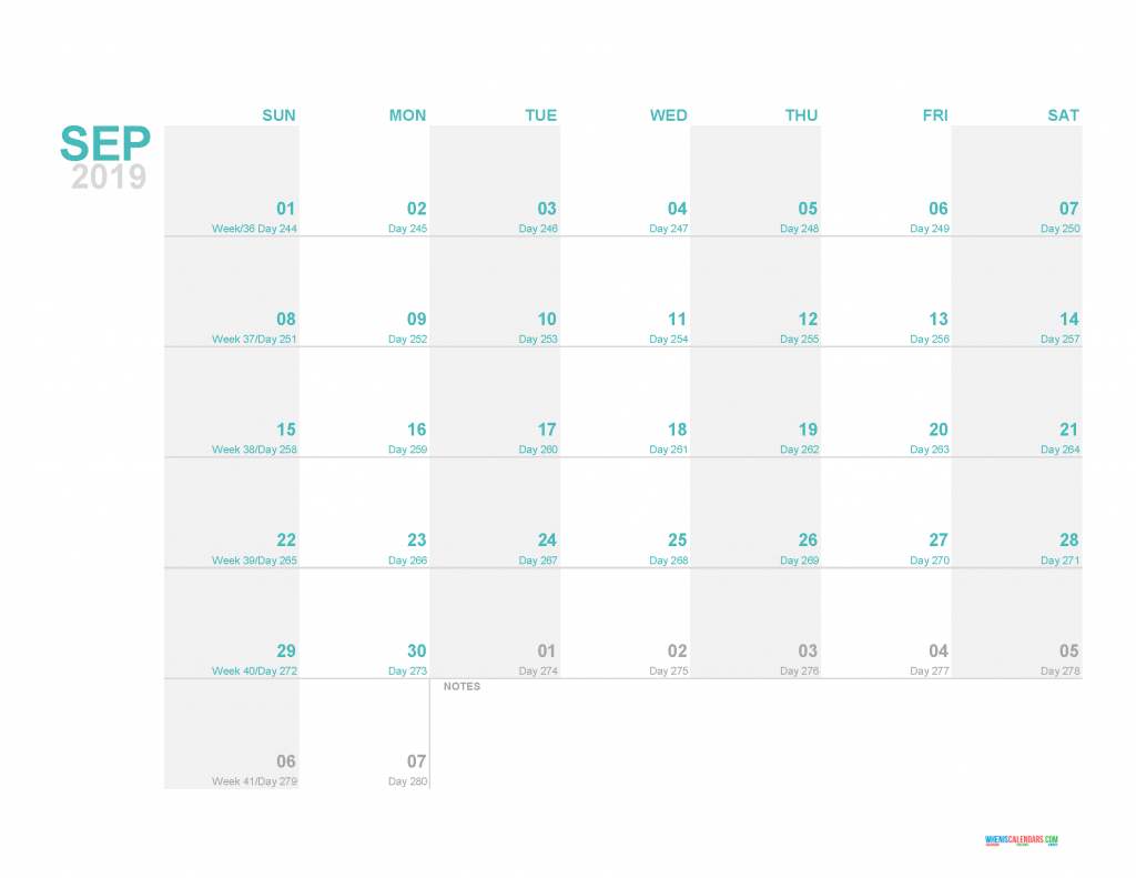 September 2019 Printable Monthly Calendar Template - Printable Calendar 2019 with Holidays