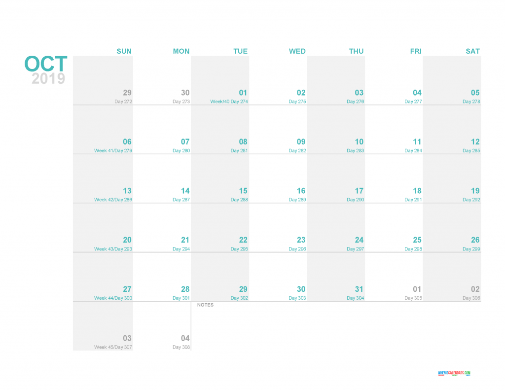 October 2019 Printable Monthly Calendar Template - Printable Calendar 2019 with Holidays