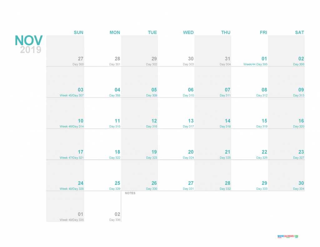 November 2019 Printable Monthly Calendar Template - Printable Calendar 2019 with Holidays