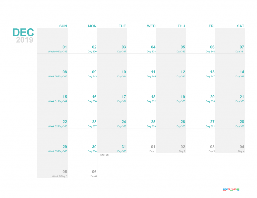 December 2019 Printable Monthly Calendar Template - Printable Calendar 2019 with Holidays