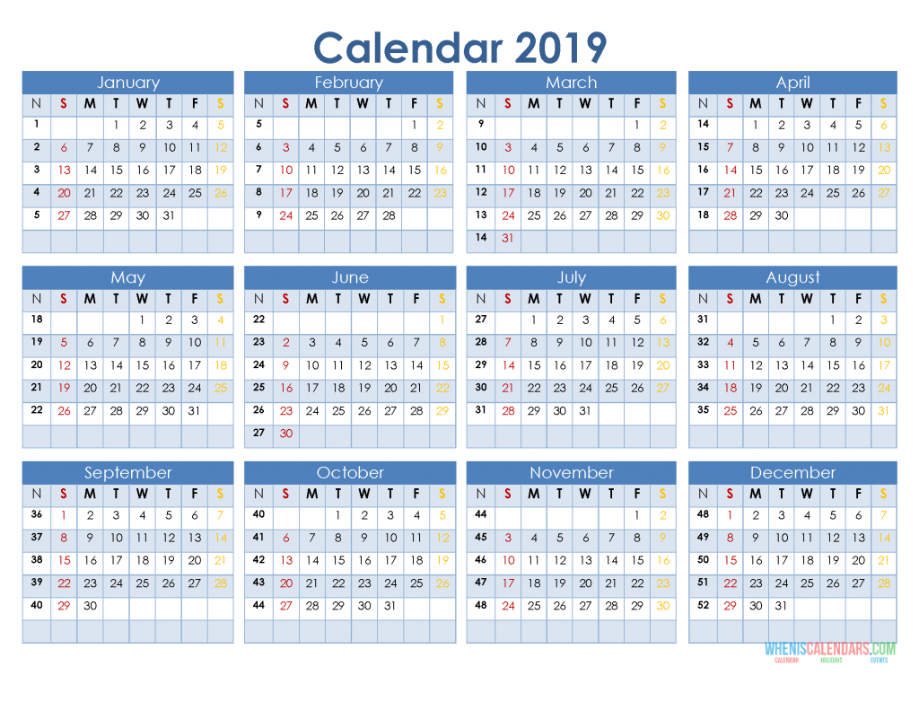 2019 12 month calendar template in a one page printable calendar  u2013 free printable 2020 monthly