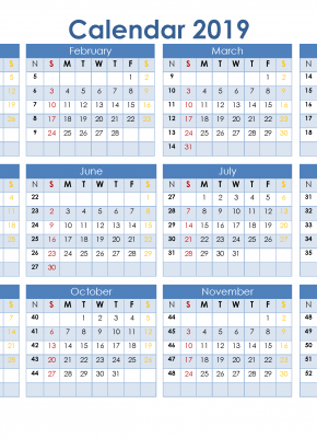 full year calendar 2019 printable 12 month on 1 page us edition