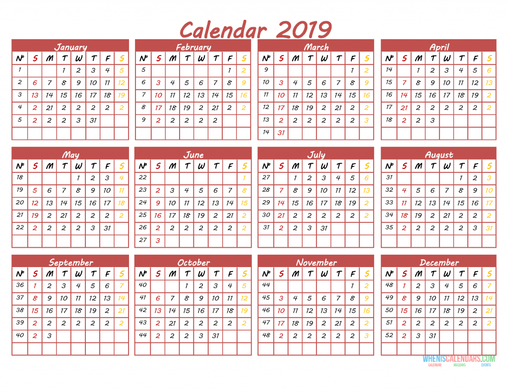 Printable 2019 12 Month Calendar Template Pdf Word Excel 2019