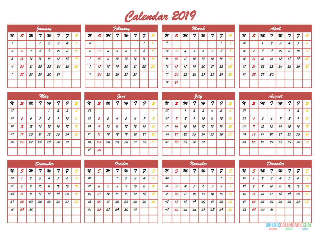 2019 12 Month Calendar Template In One Page Pdf Image Excel 2019