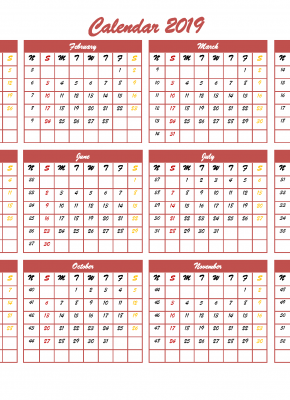 Printable 2019 12 Month Calendar Template Free Landscape Layout