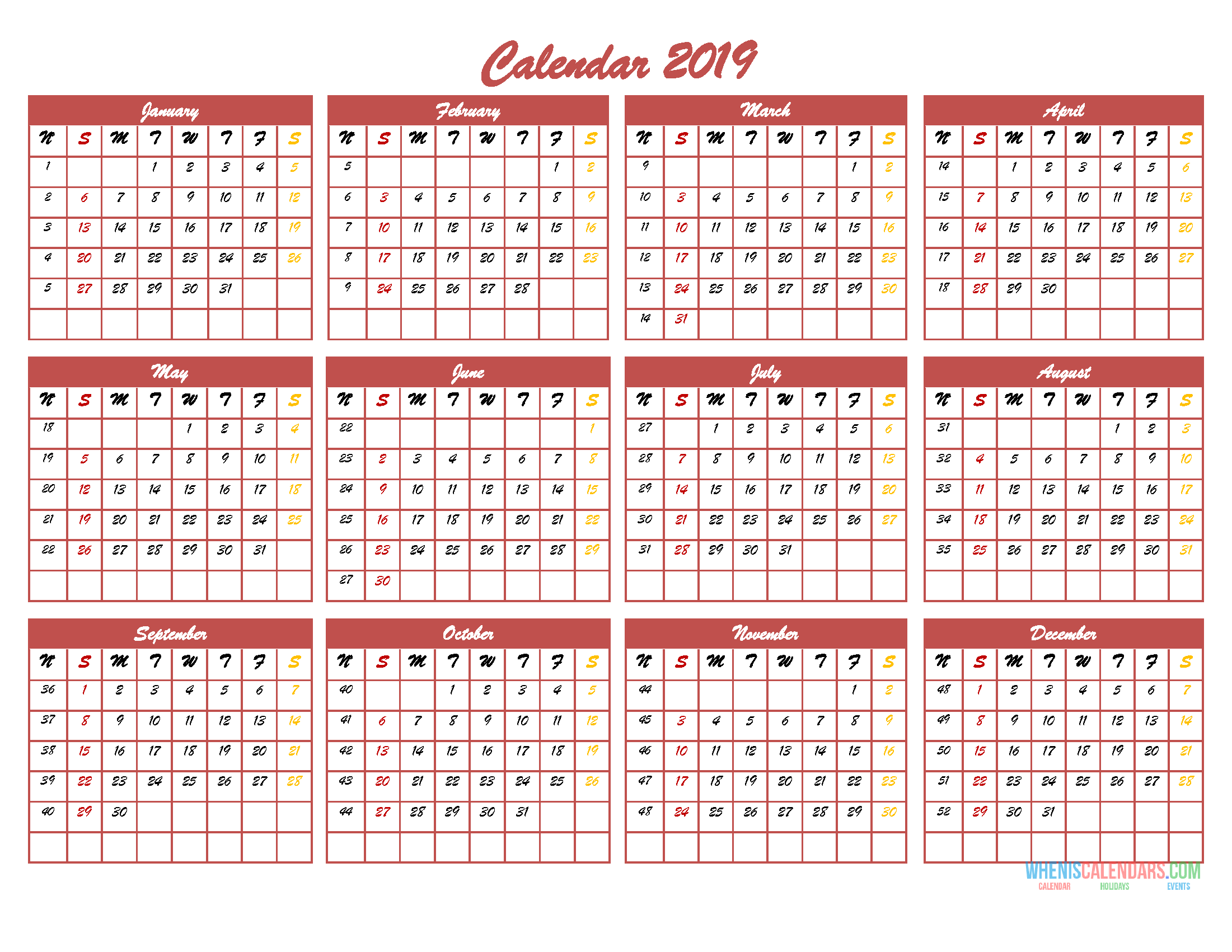 2019 12 Month Calendar Template In One Page Pdf Image Excel Free