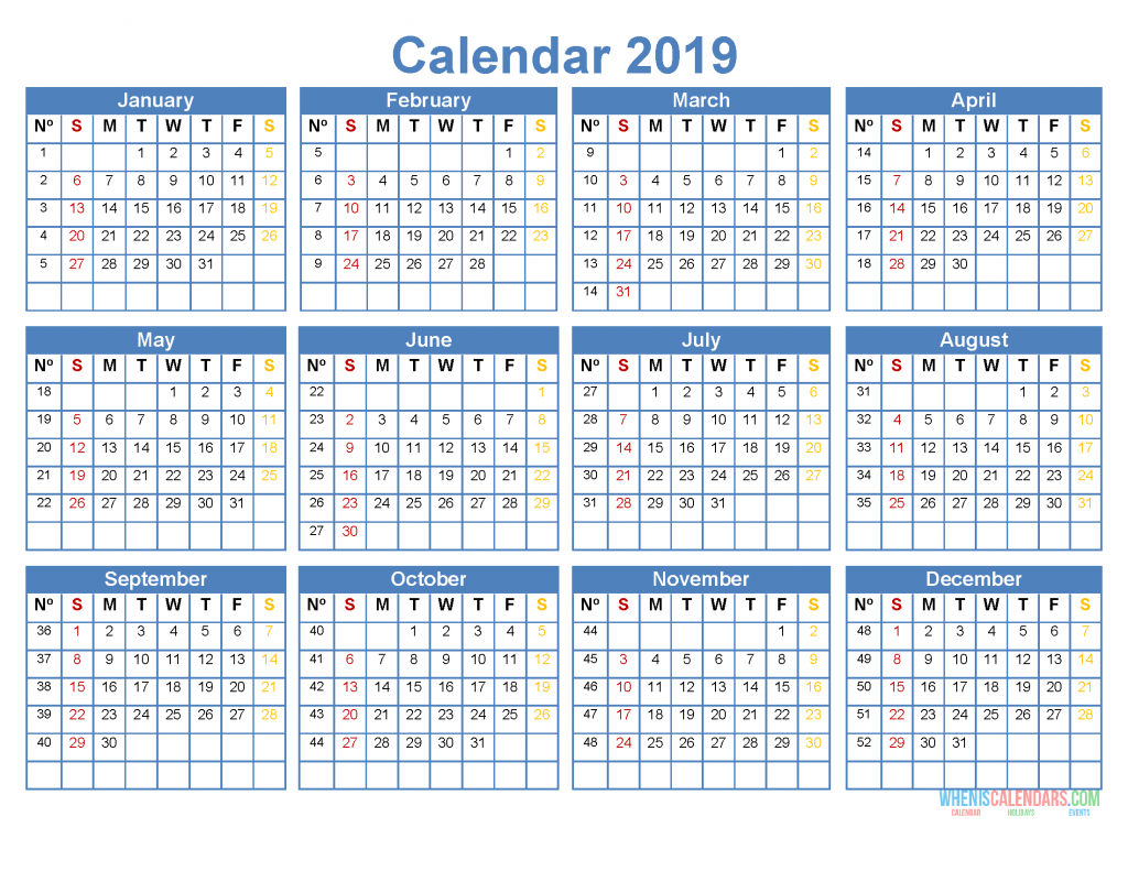Printable 2019 Yearly Calendar Template Word, Excel, PDF, Image